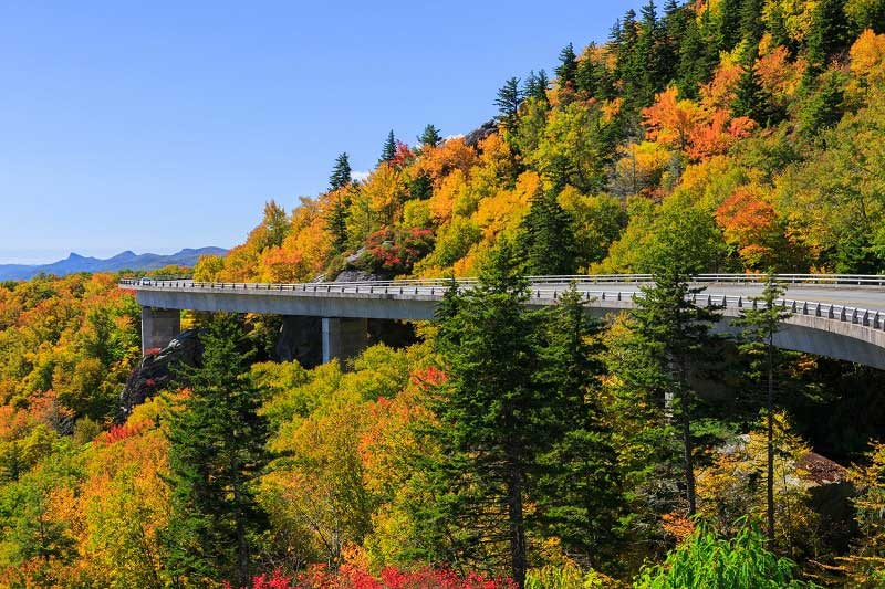 Blue Ridge Parkway in Autumn near Charlotte, North Carolina