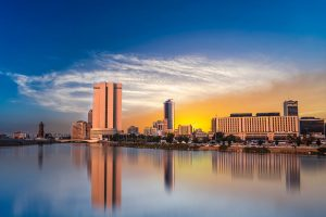 Sunset over the Jeddah city skyline. Just Fly Business can get you there with business class flights to Jeddah.