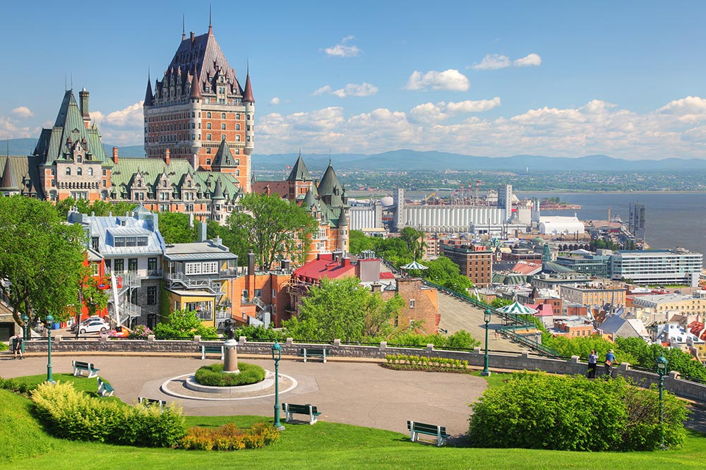 View from the Dufferin Terrace to the Chateau Frontenac and Saint Lawrence River