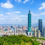 Taipei city skyline showing Taipei 101 from Elephant Mountain