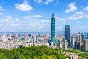 Taipei city skyline showing Taipei 101 from Elephant Mountain