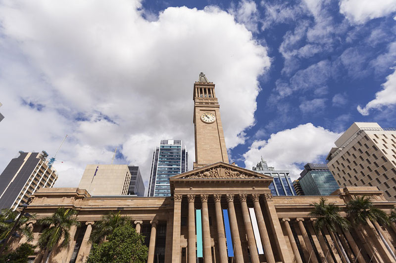 City Hall in Brisbane visited on business class flights