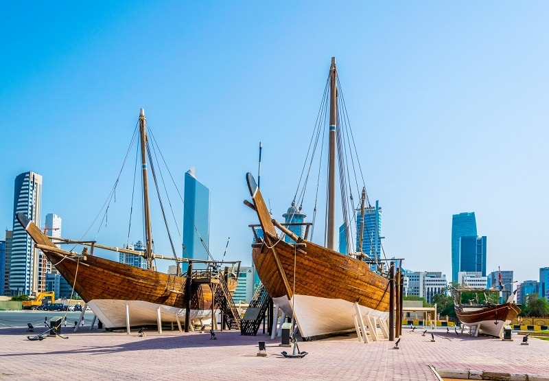 Dhow Ship in front of Museum in Kuwait City