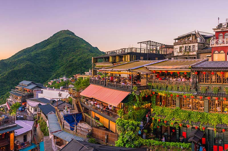 Town of Jiufen in Taiwan at Sunset