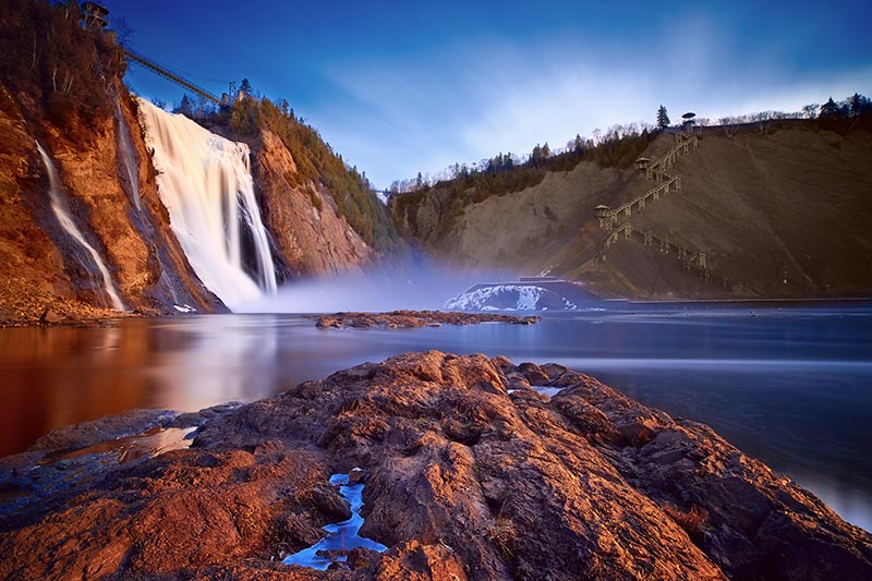 View of Montmorency Falls at Sunrise
