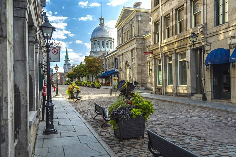 Cobblestone Street in Vieux Montreal in Montreal, Canada