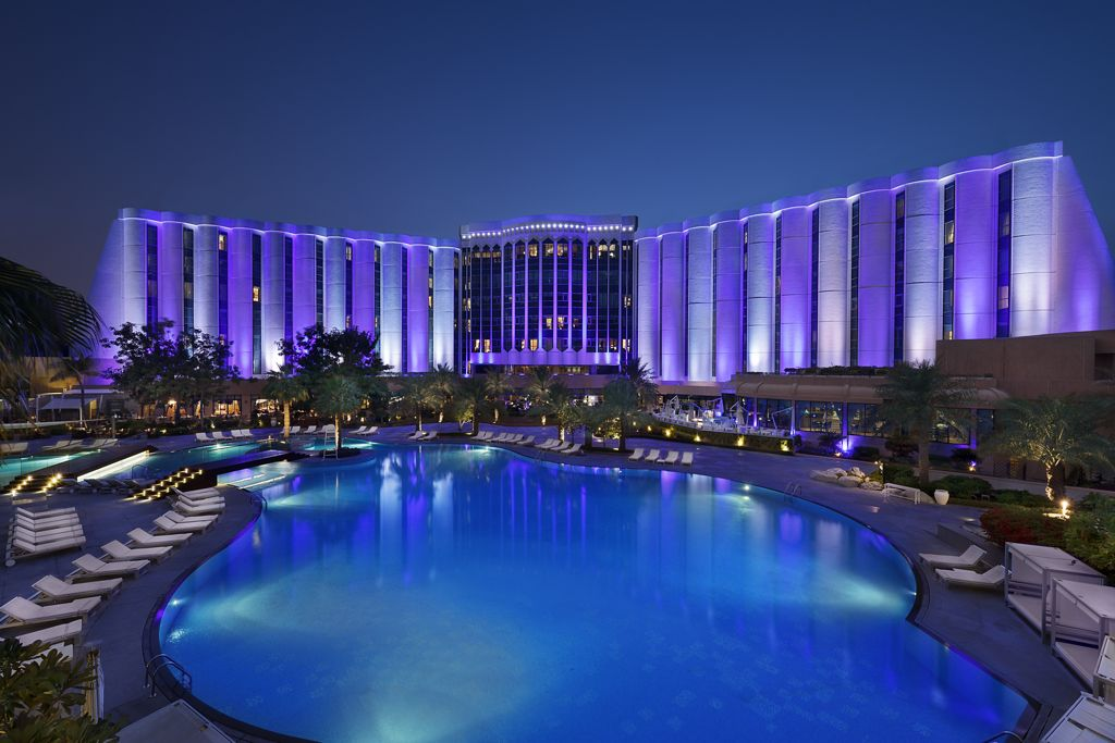 The Ritz-Carlton at night in Bahrain