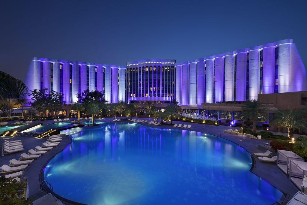 The Ritz-Carlton at night in Bahrain