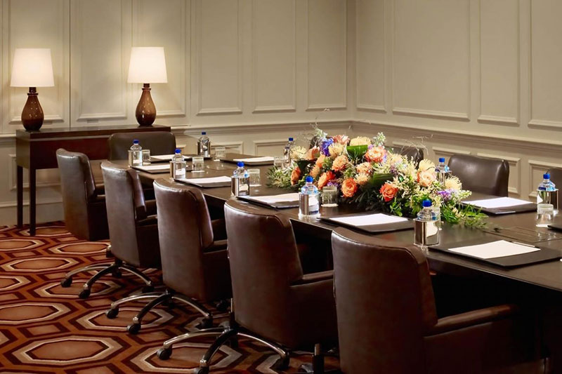 Meeting room with boardroom table and chairs at the Royal Sonesta Harbor Court Hotel in Baltimore, Maryland