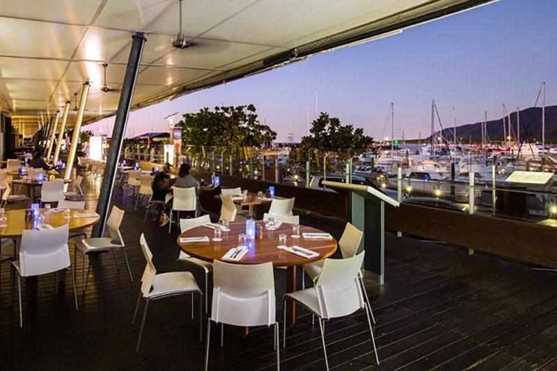 Balcony restaurant at the Shangri-La Hotel The Marina in Cairns, Queensland