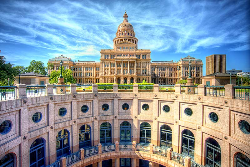 View of the State Capitol Building in Austin Texas on a sunny day