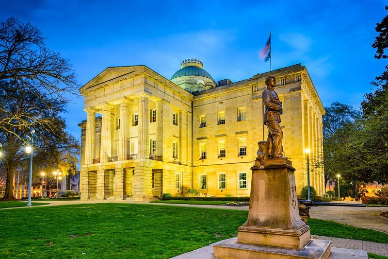 North Carolina State Capitol Building at dusk