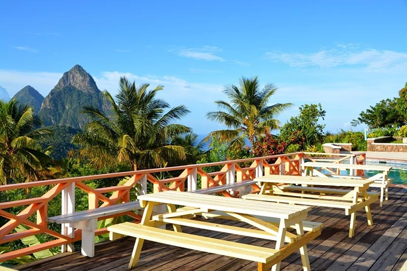 View of The Pitons in St Lucia from a cafe terrace
