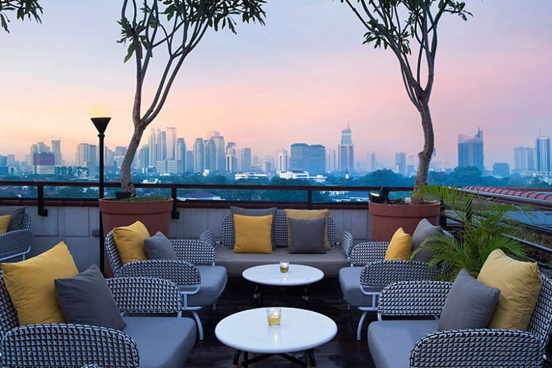 The Hermitage Hotel Rooftop Bar in Jakarta, Indonesia