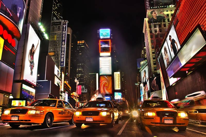 Times Square with Taxis