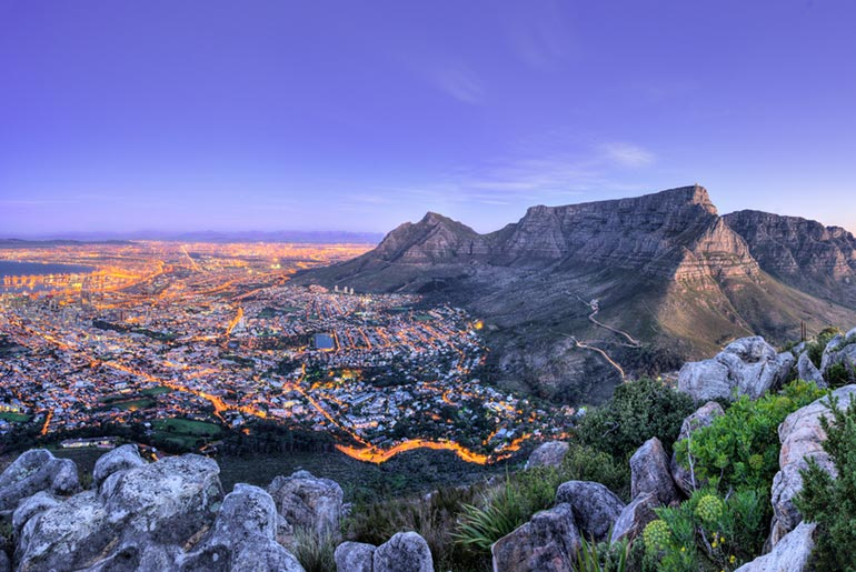 view of Cape Town from above at dusk