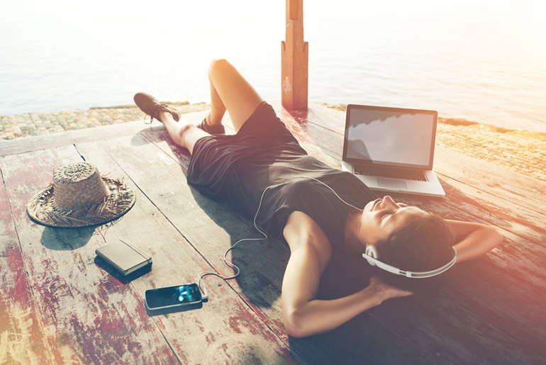 Lady with Headphones - Best Songs for Lounging on the Beach | Just Fly Business