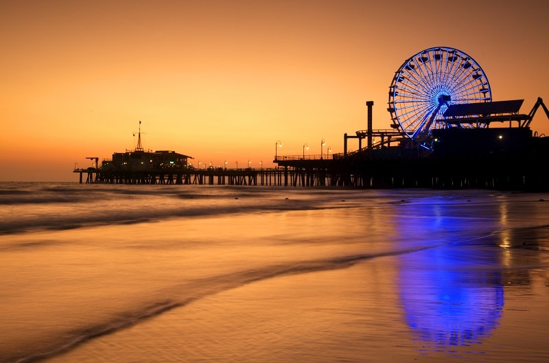 Sunset at Santa Monica Pier, Los Angeles, USA