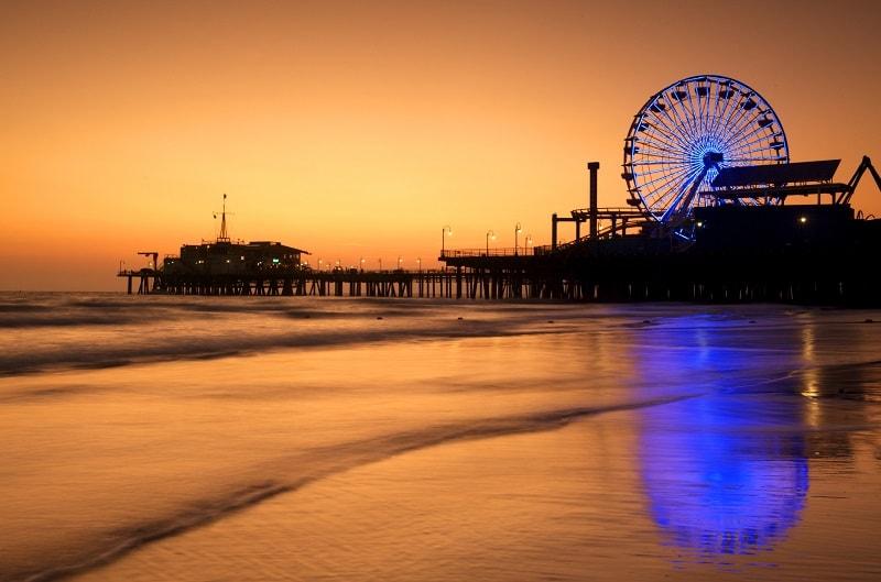 Sunset at Santa Monica Pier, Los Angeles, USA