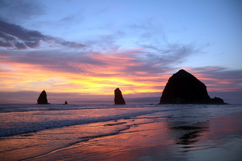 Sunset at Cannon Beach, Oregon, USA