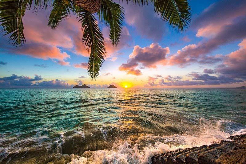Beach Sunset in Hawaii, USA