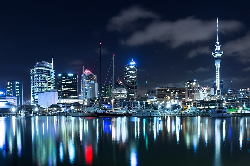City Skyline at Night in Auckland New Zealand