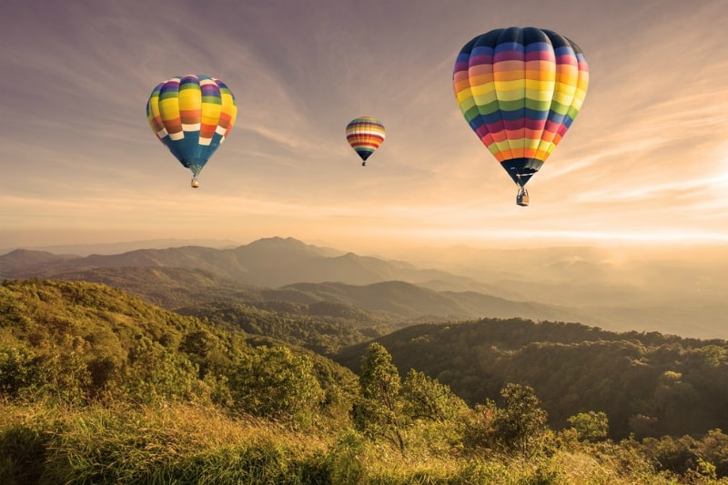 Hot Air Balloons rising in Orlando, Florida