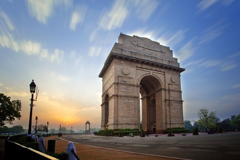 India Gate in Delhi with Clouds at Sunset