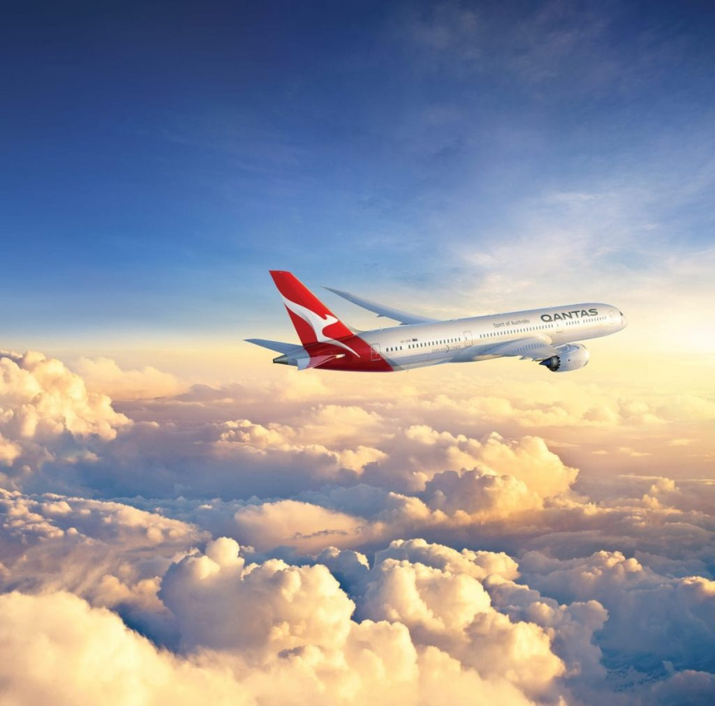 QANTAS Boeing 787-900 Dreamliner with clouds