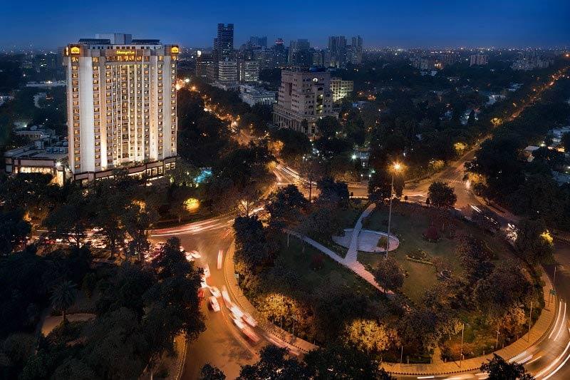 Exterior at night of the Shangri-La Eros Hotel in Delhi, India
