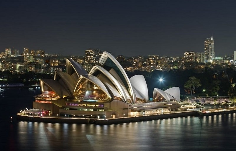 Sydney Opera House at night in Sydney, Australia