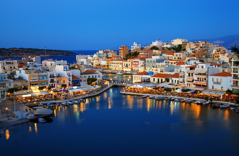 Agios Nikolaos at Night in Crete, Greece