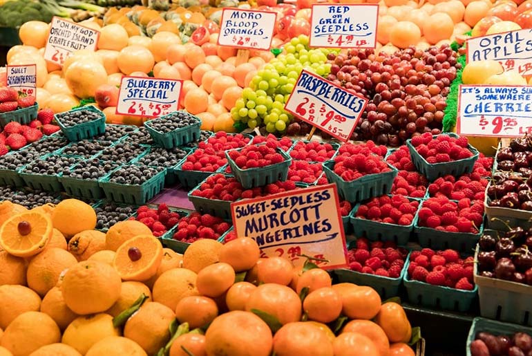 Fresh Fruit on display at Pike Street Market in Seattle