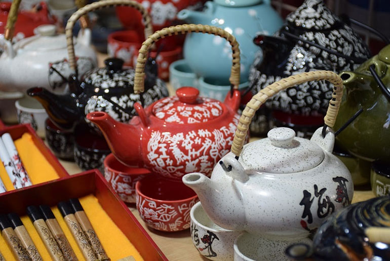 Souvenir Chinese Tea Sets in a Hong Kong Market Stall
