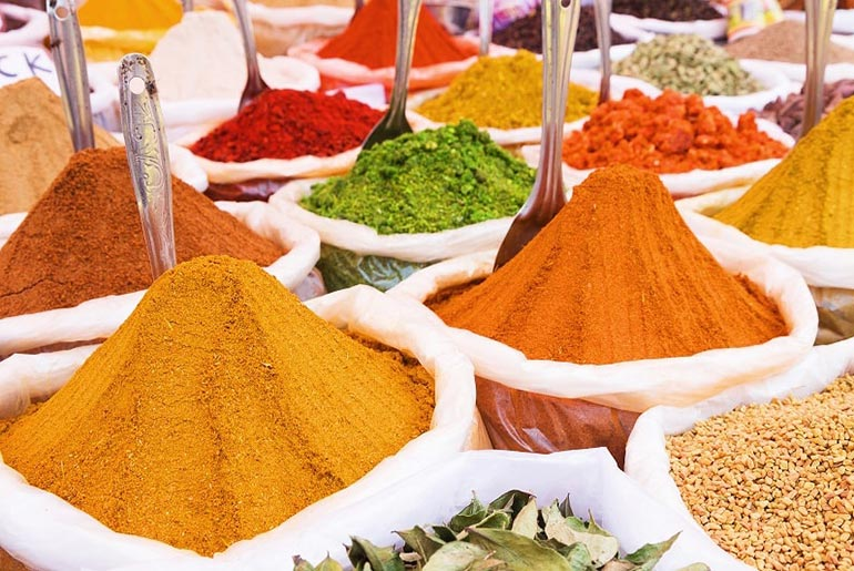 Colourful Spices on display in a street market