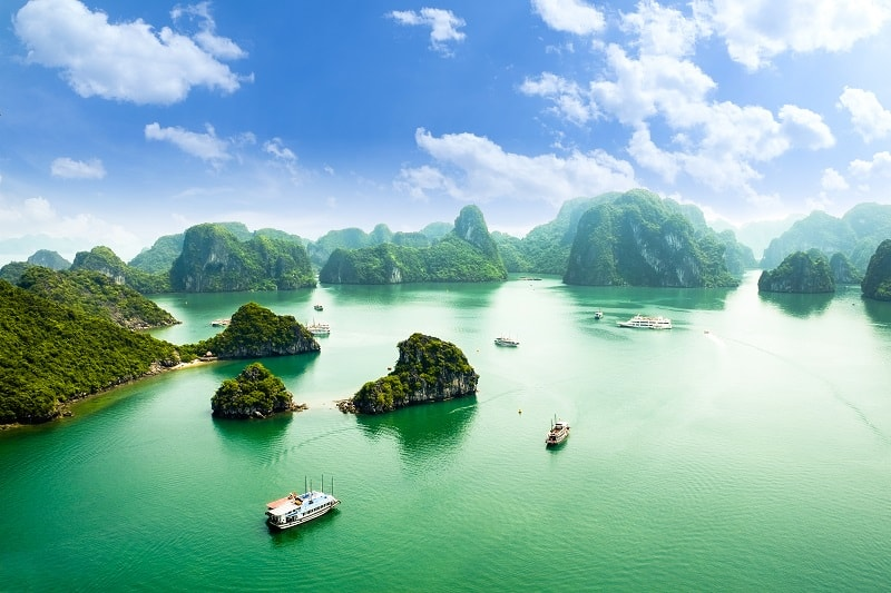 Boats on Halong Bay in Vietnam