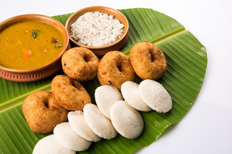 Indian Breakfast with idli and chutney