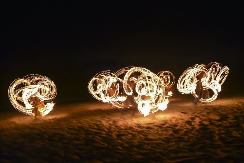 Fijian Fire Dancing on beach in Fiji