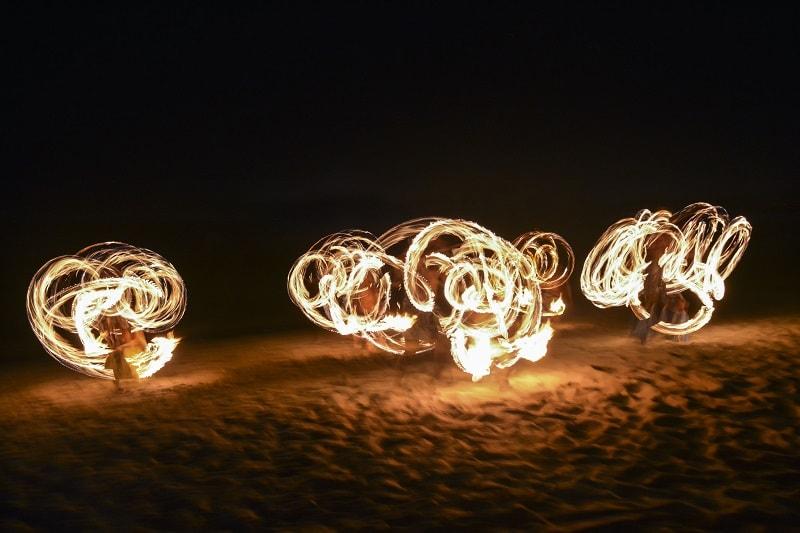 Fijian Fire Dancing on beach in Fiji