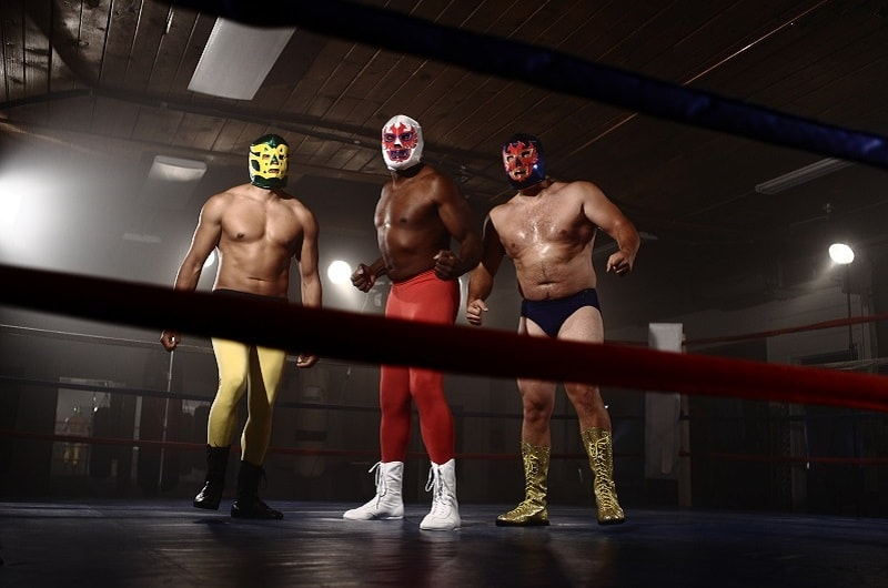 Mexican Wrestlers in Ring in Mexico