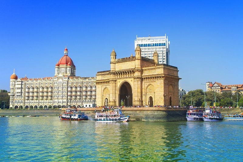 Taj Mahal Palace and the Gateway of India in Mumbai, India