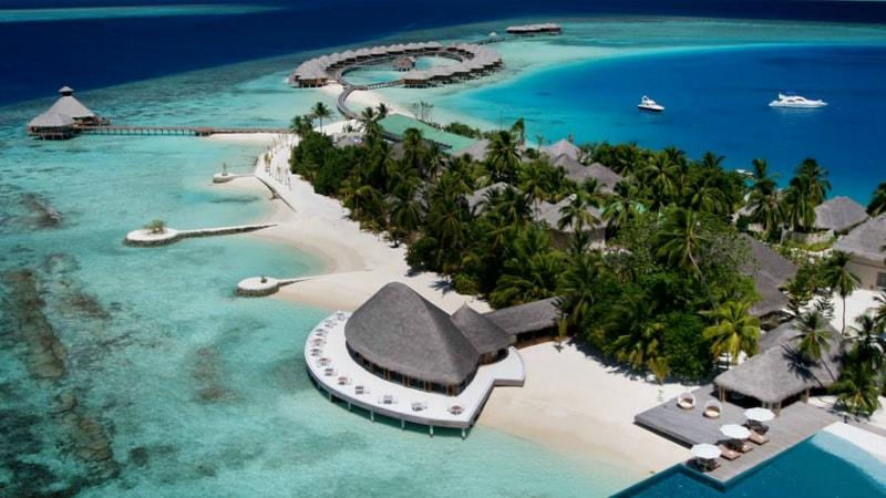 Aerial View of Huvafen Fushi, Maldives
