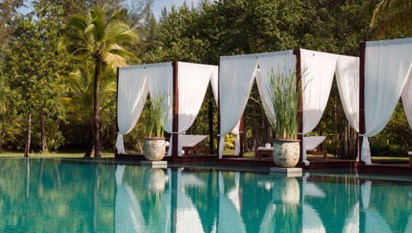 cabanas next to pool