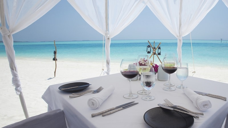 restaurant table with sea view