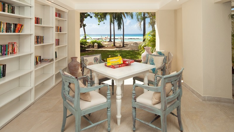 table and chairs with sea view