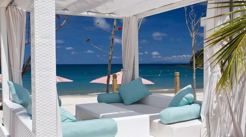 cabana on beach with sea view