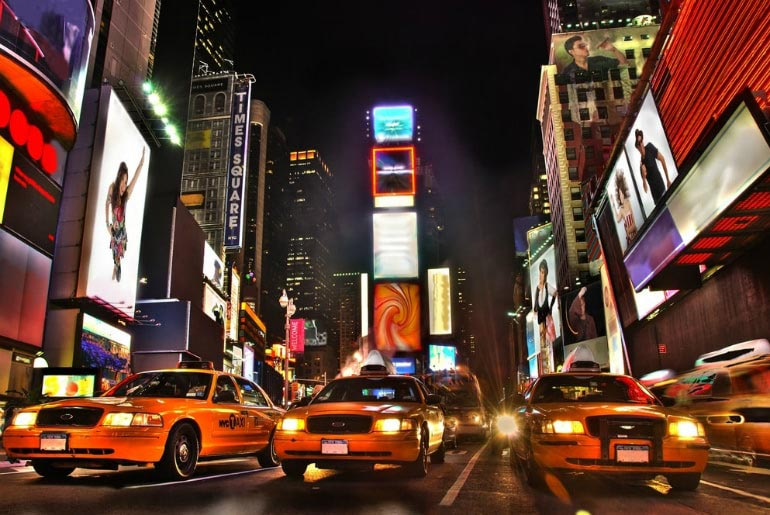Times Square Taxis in New York, USA