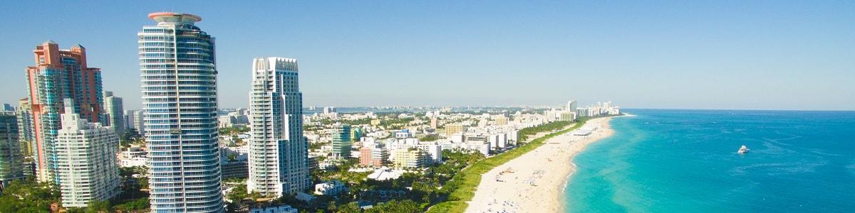 Miami Skyline and beach view