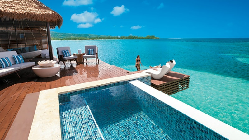 Over the Water Private Island Butler Villa with Infinity Pool at Sandals Royal Caribbean