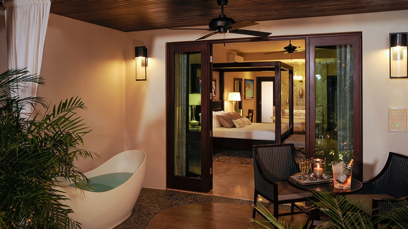 Romeo & Juliet Walkout Butler Suite with Patio Tranquility Soaking Tub at Sandals Royal Caribbean
